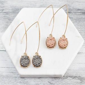 'Ziva' Druzy Drop Earrings
